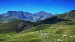 Pyrenees mountains summer landscape. - stock footage