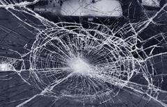 destroyed window-pane - stock photo