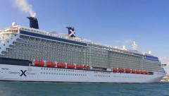 Luxury Cruise Ship Celebrity Cruises Reflection Stock Footage