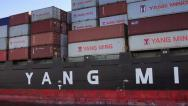Stock Video Footage of YANG MING Container Ship