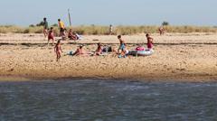 Low Tide Fishing Fun Beach  Stock Footage