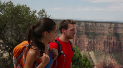 Hiking couple in Grand Canyon Stock Footage