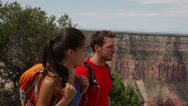 Stock Video Footage of Hiking couple in Grand Canyon