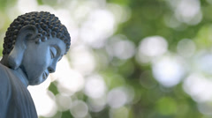 Bronze Buddha in Meditation Pose on Shimmering Green Blurred Background - stock footage
