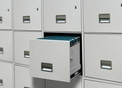 File cabinet with open drawer Stock Illustration