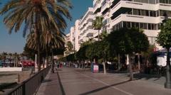 Downtown Marbella boardwalk Stock Footage