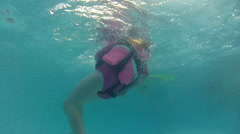 Girl in pool with life jacket Stock Footage