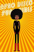 disco style afro girls vector art - stock illustration