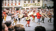399 renaissance fair parade in post war Germany - vintage film home movie Stock Footage