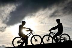 Biker in the sun Stock Photos
