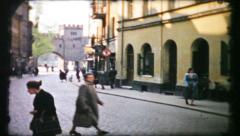 405 - street scene in post war Germany - vintage film home movie Stock Footage