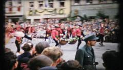 402 renaissance fair parade in post war Germany - vintage film home movie Stock Footage