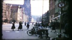 398 - street scene in post war Germany - vintage film home movie Stock Footage