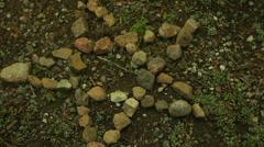 Stone pentagram blood sacrafice bloody hand Stock Footage