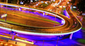 Night city traffic on a freeway, time-lapse, Moscow. Footage