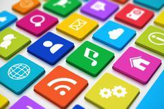 Social media keyboard Stock Illustration