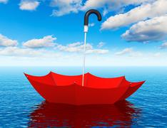 Red floating umbrella in the sea - stock illustration