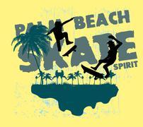 urban skate spirit vector art - stock illustration