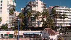 Pan of Marbella seafront Stock Footage