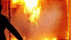 Man Throwing Molotov Cocktail Slow Motion Explosion Wall - stock footage