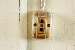 Old dirty electrical outlets Stock Photos