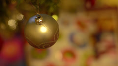 Yellow Bauble Christmas Tree Decoration - stock footage