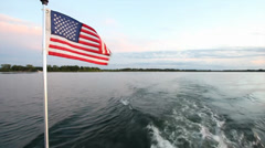 American Flag on Boat Stock Footage