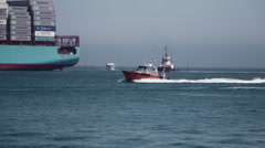 Port Pilot Boat Enters Channel Stock Footage