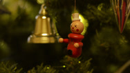 Clown And Bell Christmas Tree Decorations Stock Footage