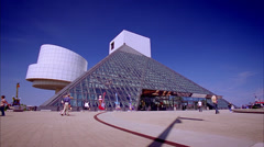 Cleveland - Rock-N-Roll Hall of Fame. Locked off low angle camera extreme wide Stock Footage