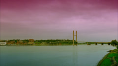 Burlington, Iowa - Locked off Long shot of Burlington bridge at dusk. Stock Footage
