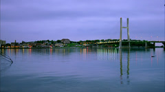Burlington, Iowa bridge. Night scene time lapse. Mississippi river in Stock Footage
