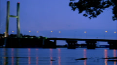 Burlington, Iowa bridge. Night scene. Camera pans from right to left.  Stock Footage