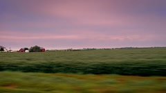 Tracking shot right to left of Illinois farm scene. - stock footage