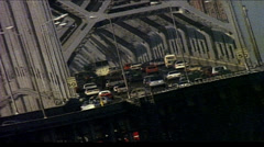 Shot of heavy traffic on bridge/elevated highway with trestle Stock Footage