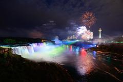 Niagara falls and fireworks Stock Photos