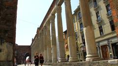 Italy Milan colonne san lorenzo2 Stock Footage