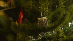 Present Box Christmas Tree Decoration Stock Footage