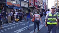 People buying stuffs in street of Sao Paulo Brazil Stock Footage