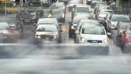 Stock Video Footage of Time lapse cars turn left right, stop, people walk, click for HD