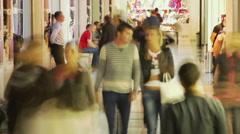 Timelapse people walking in shopping center, trade centre crowd, click for HD Stock Footage