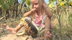 Child Eating Sunflower Seeds, Girl Playing in Agriculture Field, Crop, Children - stock footage