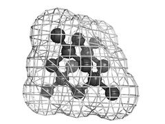 Diamond crystal structure - unit cell - unbound atoms omitted. Stock Illustration