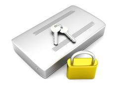 secure external hard drive.. - stock illustration
