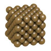 Copper (cu) metal, crystal structure. Stock Illustration