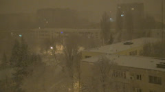 Snowing in Night, Snow Fall, Christmas Scene, Winter View in Town, District Stock Footage