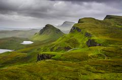 Scenic view of quiraing mountains with dramatic sky, scottish highlands Stock Photos