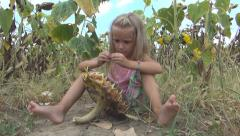 Child Eating Sunflower Seeds, Girl Playing in Agriculture Field, Crop, Children Stock Footage