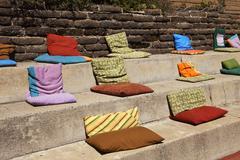Pillows on concrete steps Stock Photos