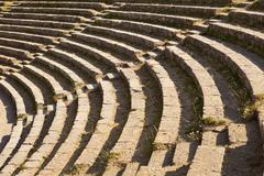 theatre seats in taormina - stock photo